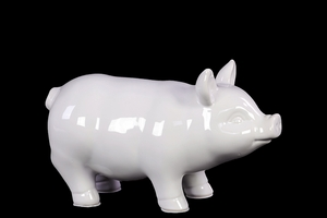 Yangtze's Unique Ceramic Pig Small White Decor by Urban Trends Collection