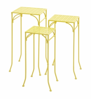 Yellow Polished Fascinating Metal Plant Stand by Woodland Import