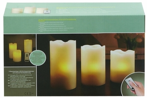Yellowish Shaded Led Wax Candle Remote Set by Woodland Import