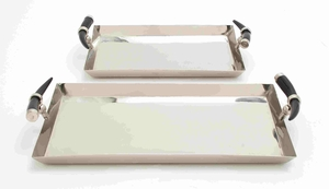 Stylish Steel Tray With Sophistic Horn Handle Set Of Two - 38085 by Benzara