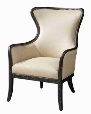 Zander Wing Back Chair With Solid Wood Construction Brand Uttermost