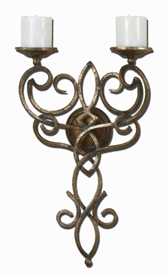 Zemel Wall Mount Candle Holder With Antique Gold Leaf Finish Brand Uttermost