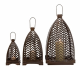Zig- Zag Designed Classy Metal Lantern by Woodland Import