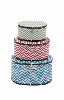Zig - Zag Patterned Wood Vinyl Box by Woodland Import
