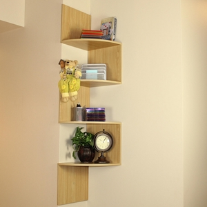 Zigzag Shaped Modish White Wall Corner Storage Shelf by 4D Concepts
