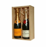 Moet & Chandon & Veuve Clicquot Duo in a  Wooden Box