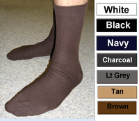 99% Cotton Dress Sock with elastic in top USA