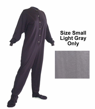 Adult Footed Pajama in 100% Cotton Knit Size Small in Gray