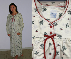 Cherries Flannel Nightgown Sizes S to XXX-Large