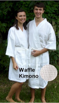 100% cotton waffle weave spa robes