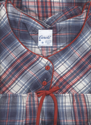 "Denim & Red  Plaid Flannel Nightgown 52"" USA - Size XXX-Large"