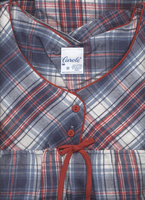 Denim & Red  Plaid Flannel Nightgown in Sizes S to XXX-Large