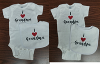 I Love Grandma or Grandpa Onesies size 12 months plus stuffed sea animal