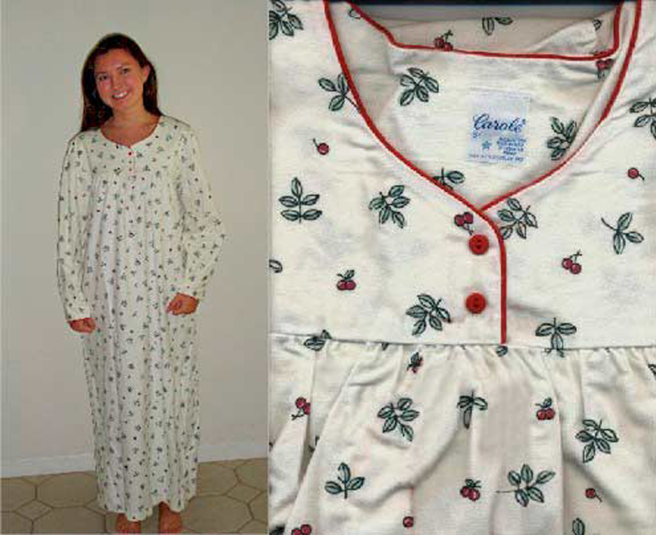 Ladies Flannel Nightgowns Cherries And Leaves With 6 Sizes