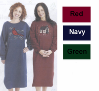 Ladies Sweatshirt Nightshirt with Cardinals in Navy