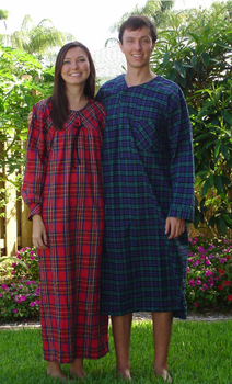 "Flannel Nightgown Plaid 52"" Sizes S-XXX USA"