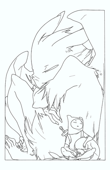 <i>Adventure Time #16</i> Variant Cover Line Work by Meredith A. McClaren