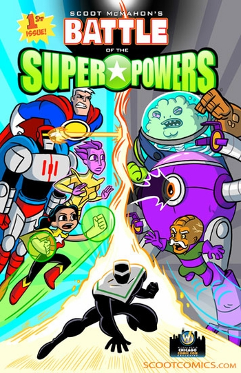 <i>Battle of the Super Powers</i> Chicago Comic Con Exclusive Poster by Art by Scott McMahon