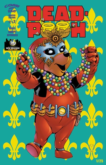 <i>Deadpooh #2 (mardi gras mask)</i> New Orleans Comic Con Exclusive Lithographs by Marat Mychaels (Story by Alex Sharpe & Sean Davis, Color by Todd Rayner)