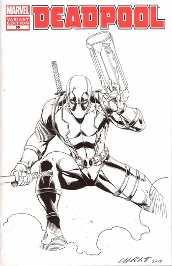 <i>Deadpool #50</i> variant sketch cover by Marat Mychaels
