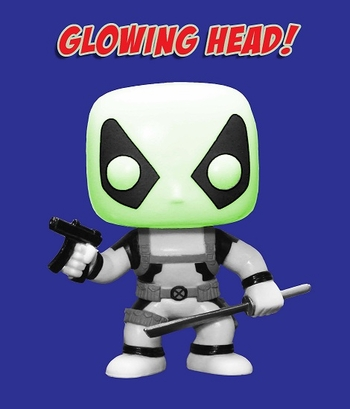 <b><i>Deadpool White & Black Funko Pop! FACTORY DEFECT with Glowing Head</i> Philadelphia Comic Con Exclusive</b>