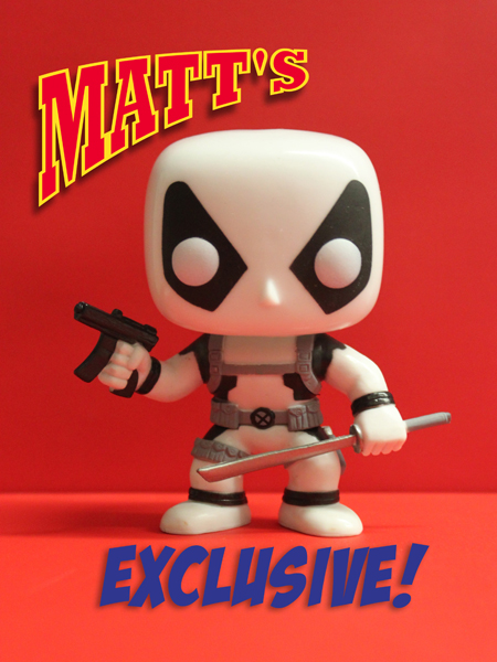<b><i>Deadpool White & Black Funko Pop!</i></b>  FACTORY DEFECT with Glowing Head Sacramento Comic Con Exclusive</b>