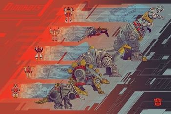<i>Dinobots</i> Philadelphia Comic Con Exclusive Screen Print by Kevin Tong