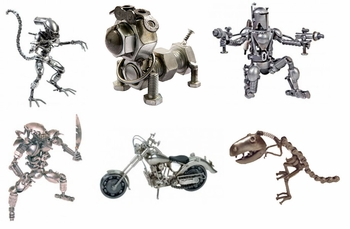 <i>Hand Crafted Found Art</i> New Orleans Comic Con Exclusive Sculptures by Henry Cesneros<br>