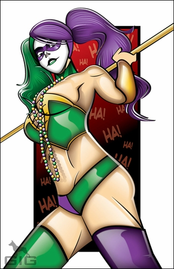 <i>Harley Quinn in Mardi Gras</i> New Orleans Comic Con Exclusive Lithograph by Patrick Giles