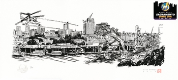 <i>Kaiju Hits Sacramento - Screen Print</i> Sacramento Comic Con Exclusive Lithographs by Jose Moreno