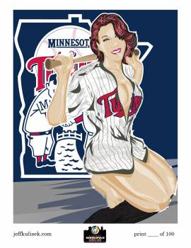 <i>Minnesota Twins Pinup</i> Minneapolis Comic Con Exclusive Lithograph by Jeff �Kool as Heck� Kulisek