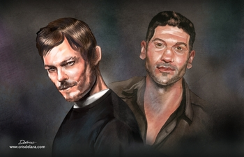 <i>Norman Reedus & Jon Bernthal</i> Chicago Comic Con VIP Exclusive Lithograph by Cris Delara