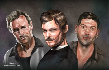 <i>Norman Reedus/Michael Rooker/Jon Bernthal</i> Comic Con NYC Experience VIP Exclusive Lithograph by Cris Delara