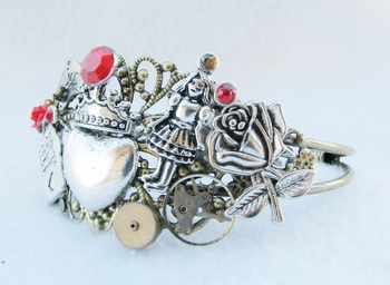 <i>Queen of Hearts Steampunk Charm Bracelet</i> Sacramento Comic Con Exclusive Bracelet by Tracey Wolfe