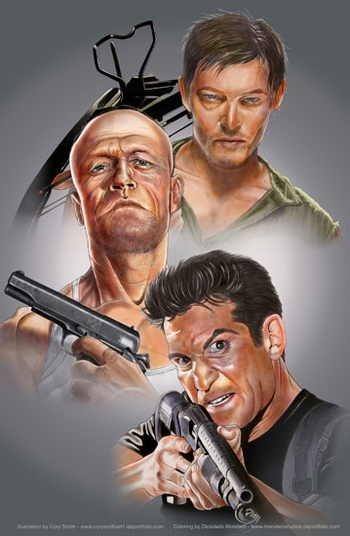 <i>Reedus, Rooker & Bernthal</i> Wizard World NYC Experience VIP Exclusive Lithograph by Cory Smith