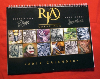 <i>RJA CREATIONS</i> 12 Month Binded Calendar Philadelphia Comic Con Exclusive by James Lincke and Russell R. Cera