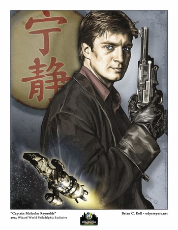 <i>Serenity Captain Malcolm Reynolds Print</i> Philadelphia Comic Con Exclusive Lithograph by Brian C. Roll