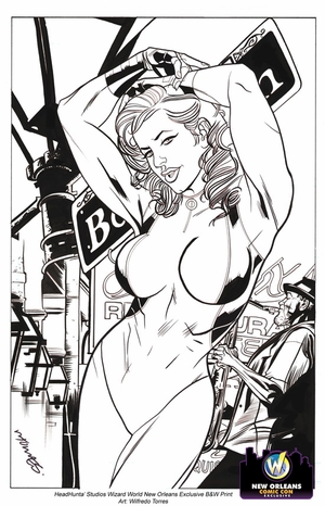 She-Hulk Exclusive Wizard World New Orleans Comic Con Black & White Print By Wilfredo Torres & Adrian Johnson