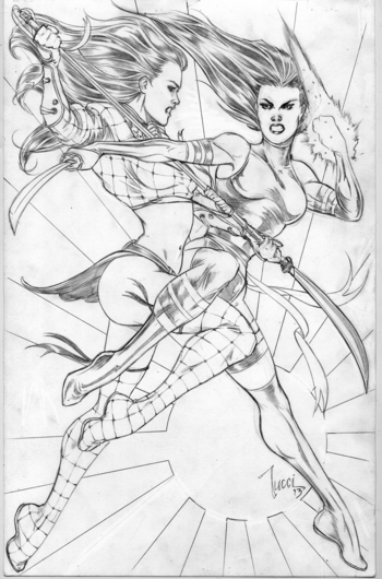 <i>Shi/Psylocke Battle</i> pin up by Billy Tucci
