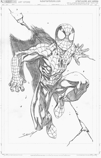 <i>Spider-Man on Wall</i> by Mark Bagley
