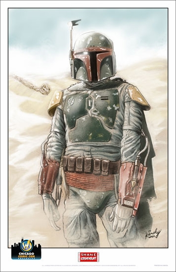 <i>The Good, The Bad and The Fett</i> Chicago Comic Con Exclusive Lithograph by Shane Kirshenblatt