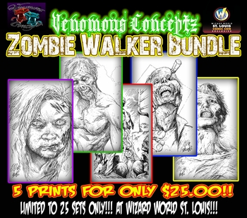 <i>Venomous Conceptz Zombie Walker</i> Bundle of 5 St. Louis Comic Con Exclusive Prints by Shelby Robertson & �DON�T�