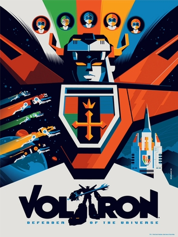 <i>Voltron</i> Philadelphia Comic Con Exclusive Screen Print by Tom Whalen