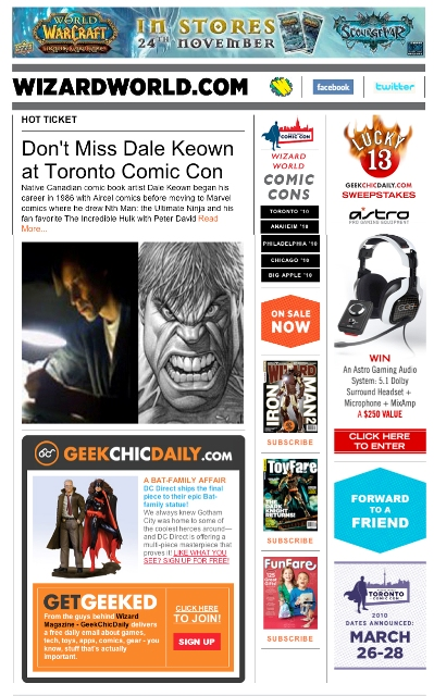 WIZARD RELAUNCHES E-NEWSLETTER WITH GEEKCHIC DAILY SYNDICATION HITS 138,000 UNIQUE FANS