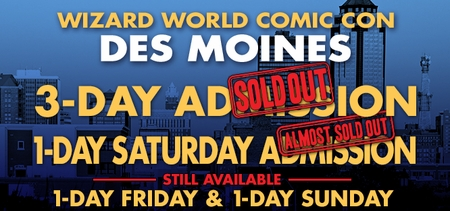 Gone In A Flash! Wizard World Comic Con Des Moines 3-Day Admissions Sell Out!