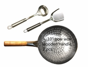 """A.  10"""" hand-hammered pow wok with wooden handle, spatula/ladle"""