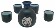 black and blue sake set