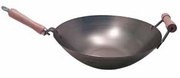 Stainless Steel USA-Made Wok w/Long Wood Handle and Helper Handle