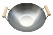 Stainless Steel USA-Made Wok w/Two Wooden Spool Handles (Lid Sold Separately)