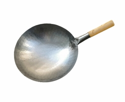 The Wok Shop's carbon steel hand-hammered pow wok, wood handle